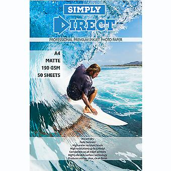 50 x Simply Direct A4 Matte Inkjet Photo FSC Printing Paper - 190gsm - Professional Premium Photographic Printer Paper