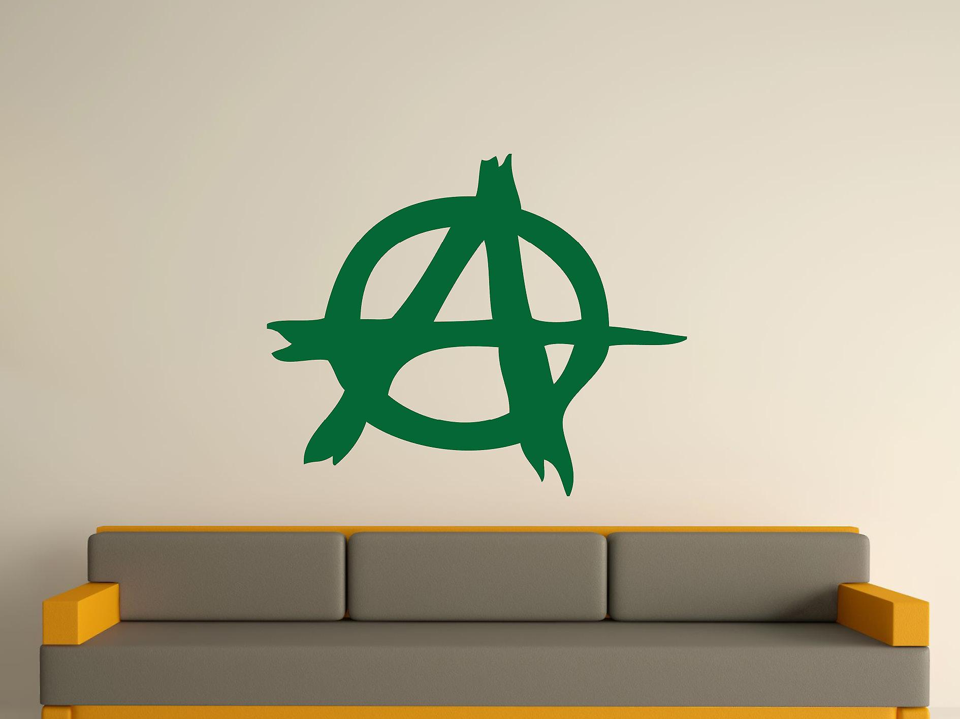 Symbole anarchie autocollant de mur d'art - Racing Green