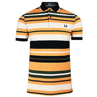 Fred perry men's apricot white navy bold stripe polo shirt