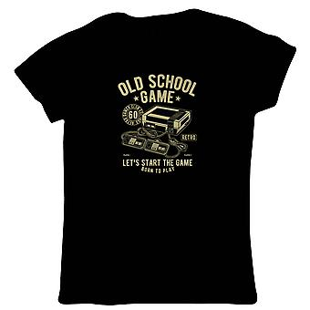 Old School Retro Game Womens T-Shirt | Gamer Graphics Console PC Shooter RPG Free Roam  | Timeless Retro Vintage Iconic Seminal Memorable  | Gaming Gift Her