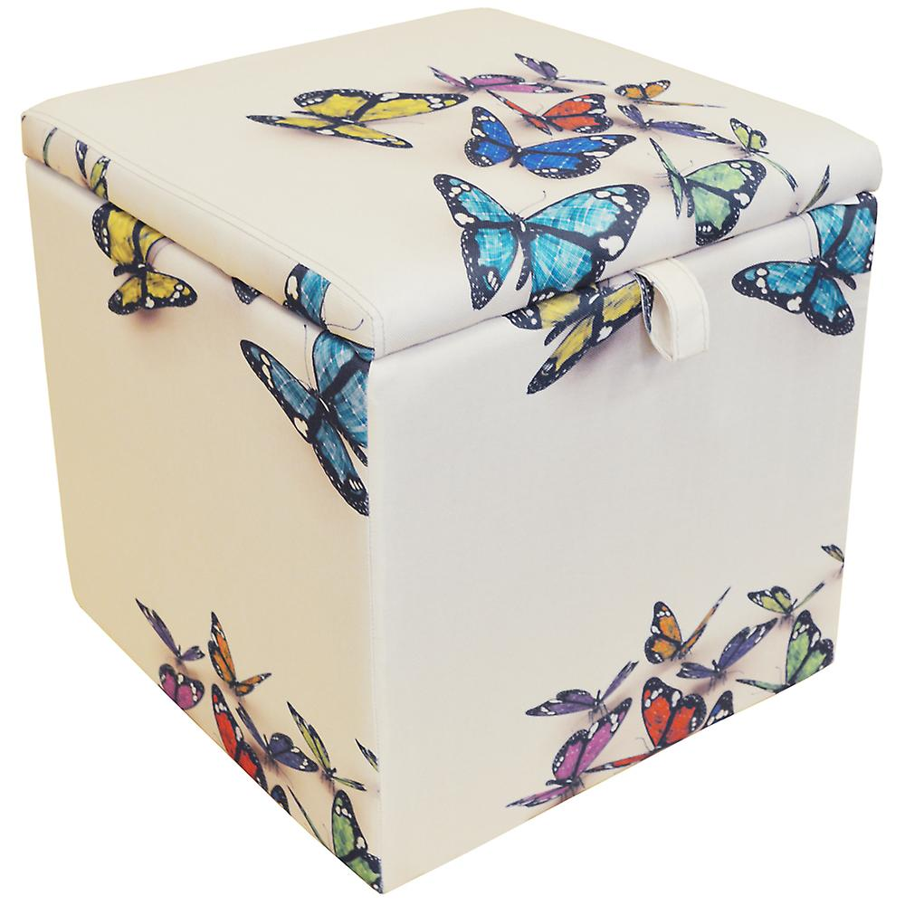 Butterfly - Square Storage Ottoman Stool / Blanket Box Cube - Cream / Multi