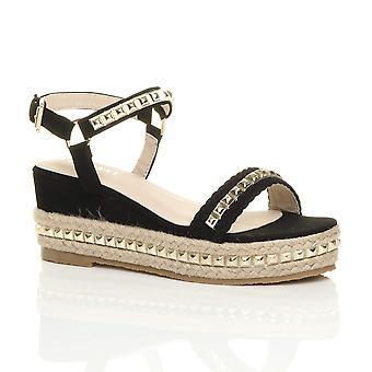 Ajvani kvinners midt kile hæl flatform piggdekk sandaler plattform espadrilles