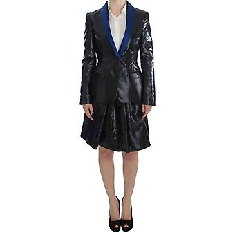 Exte Black Blue Two Piece Suit Skirt & Blazer -- SIG3940528