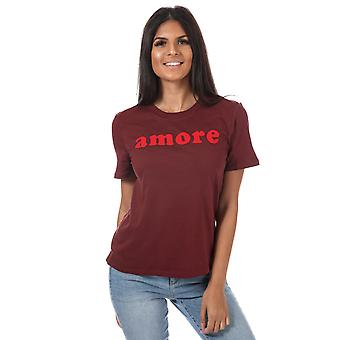 Womens Only Ava Slogan T-Shirt In Chocolate Truffle