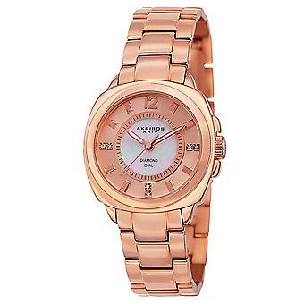 Akirbos XXIV AK668RG Women's Swiss Quartz Stainless Steel Rose-Tone Bracelet Watch