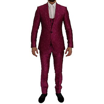 Pink jacquard 3 piece slim fit suit