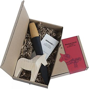 Mora Dala Horse woodcarving kit - carving tool with wooden horse in gift box