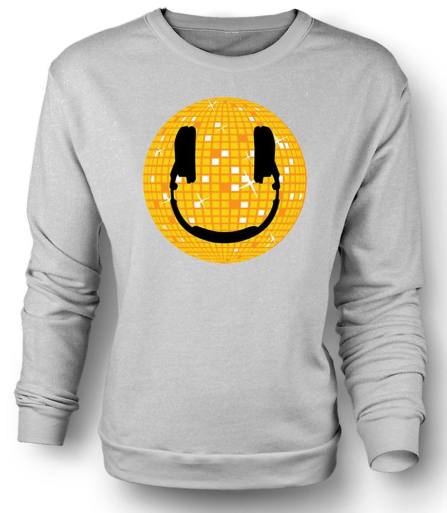Mens Sweatshirt Smiley Face - Disco Ball