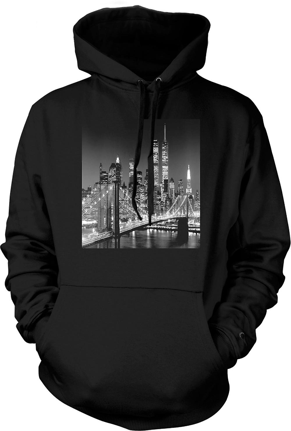 Tours jumelles de mens Hoodie - New York Sky Line-
