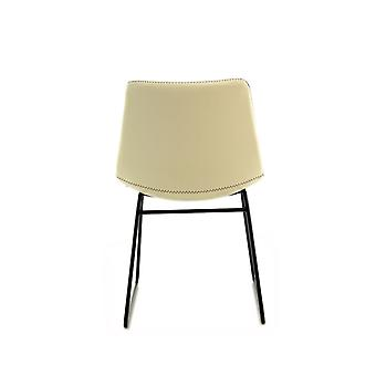 Retro Chair 2Er Industrial Leather Metal Legs Dining Room Chair Cream Ivory