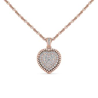 IGI Certified Natural 10k Rose Gold 0.25Ct Solid Real Diamond Heart Necklace