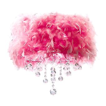 Diyas Ibis Ceiling With Pink Feather Shade 3 Light Polished Chrome/Crystal