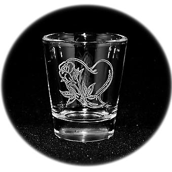 2oz rose heart engraved shot glass