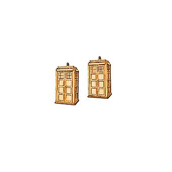Earrings - police call box - raw wood