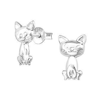 Cat - 925 Sterling Silver Plain Ear Studs - W38469X