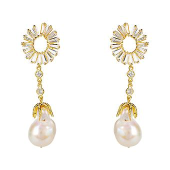 Earrings Long White Natural Baroque Pearl Yellow Gold CZ Gemstone Drop Baguette