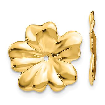 14k Yellow Gold Flower Polished Floral Earrings Jackets - .9 Grams