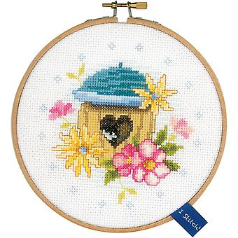 Bird House On Aida Counted Cross Stitch Kit-5.75