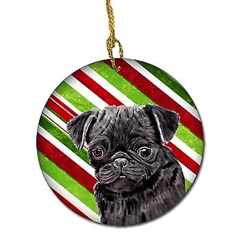 Pug Candy Cane Holiday Christmas  Ceramic Ornament SC9326