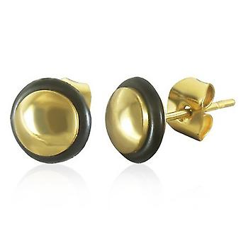 Urban Male Gold Plated Stainless Steel 8mm Round Stud Earrings