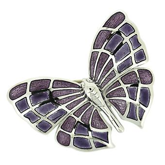 Fine Enamels Sterling Silver and Amethyst Purple Enamel Butterfly Brooch