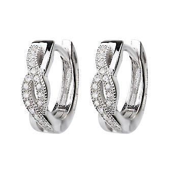 Affici Sterling Silver Huggie Earrings 18ct White Gold Plated with Diamond CZ Twist
