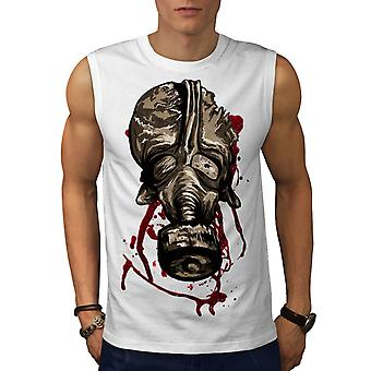 Mask Scary Creepy Horror Men White Sleeveless T-shirt | Wellcoda