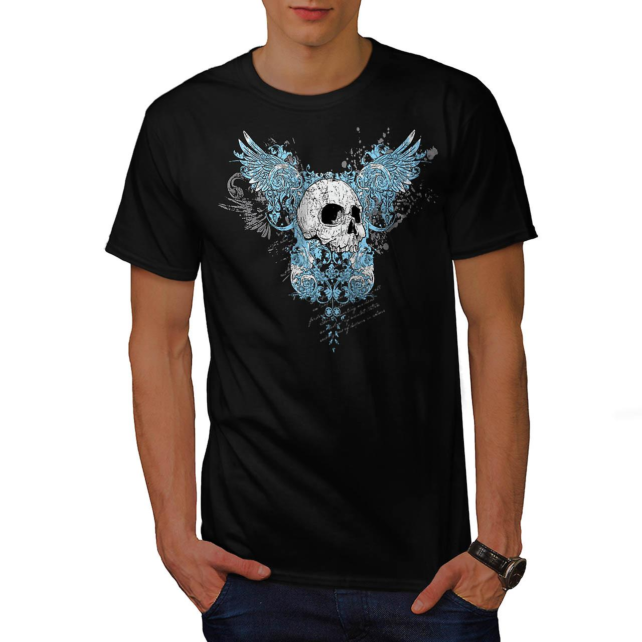 Wings Goth Biker Skull Men Black T-shirt | Wellcoda