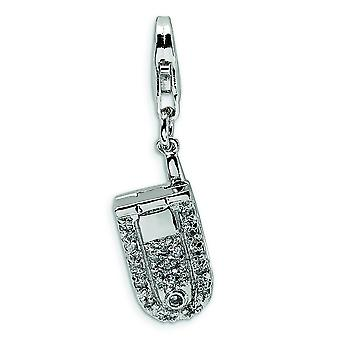 Sterling Silver Flip Cell Phone CZ With Lobster Clasp Charm - Measures 31x9mm