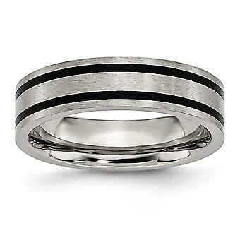 Titanium geëmailleerd gegroefde platte 6mm gepolijst Band Ring - grootte 10.5