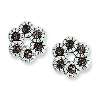 Sterling Silver and CZ Brilliant Embers Coffee Flower Post Earrings