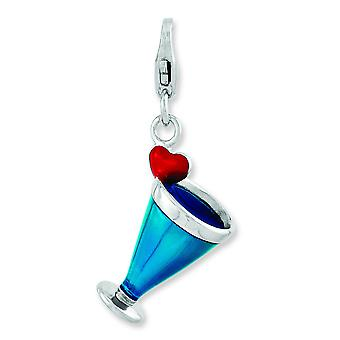 Sterling Silber emailliert 3-d Blue Hawaii mit Hummer Spange Charme - 2,5 Gramm