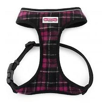Comfort Mesh Dog Harness Tartan Purple Small 34-45cm