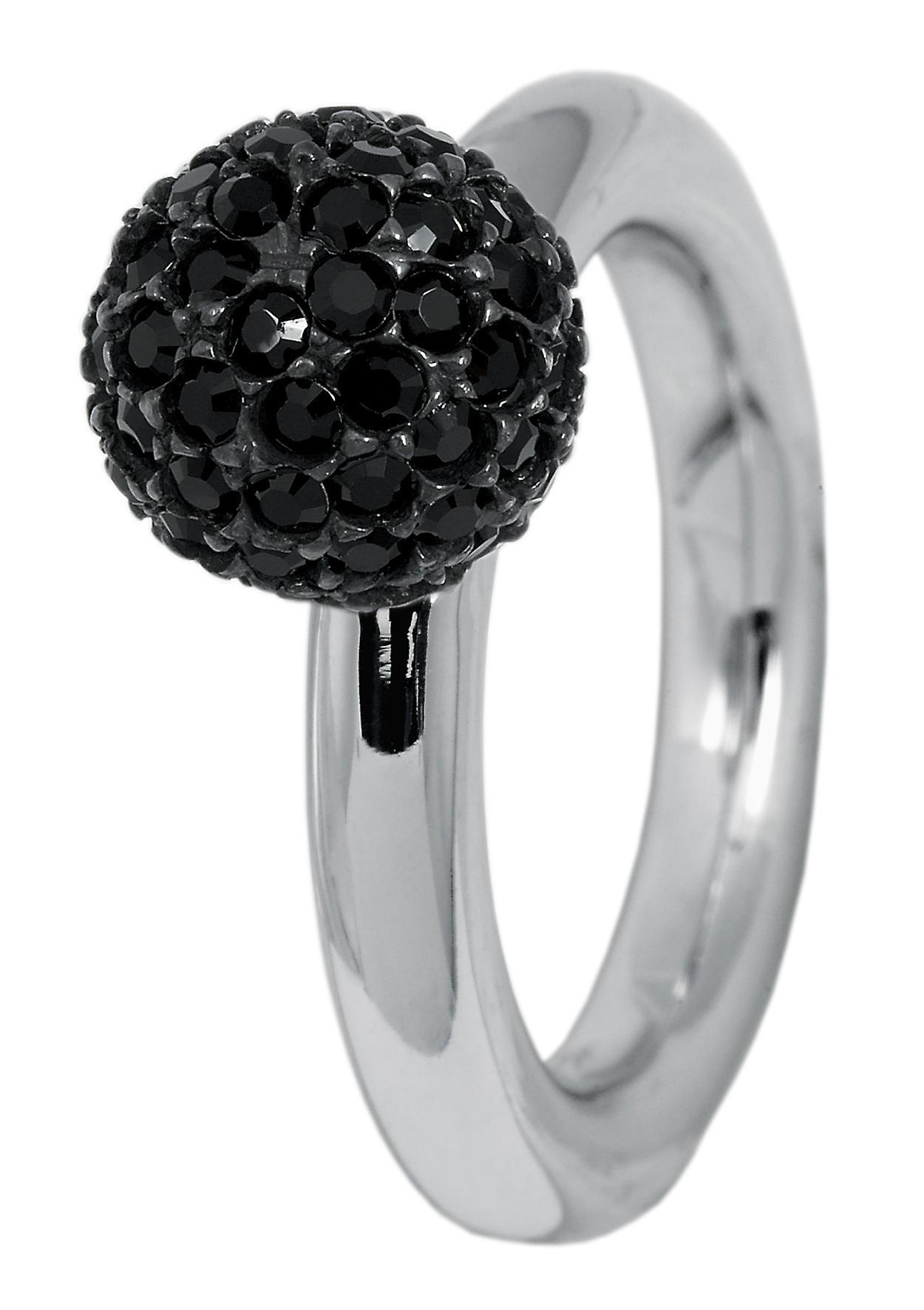 Burgmeister ring JBM1112, 925 sterling silver rhodanized, ball 64 black Swarovski crystal