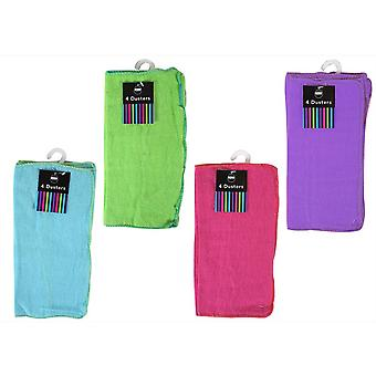 Dusters Pack of 4 30x30cm in Pink Blue Green or Purple Bright Colours
