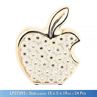 GOLD MILLE SYLISH CERAMIC APPLE FIGURINE WITH FLOWERS DECORATION AND STONES