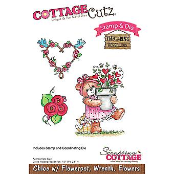 CottageCutz Stamp & Die Set-Chloe With Flowerpot CCS027