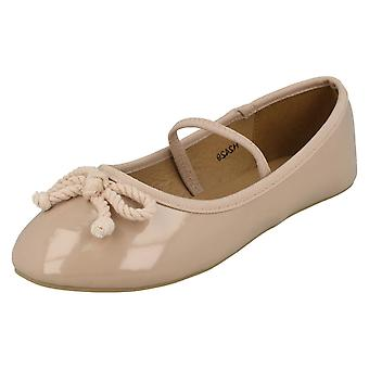 Girls Spot On Elastic Bar Ballerinas H2429
