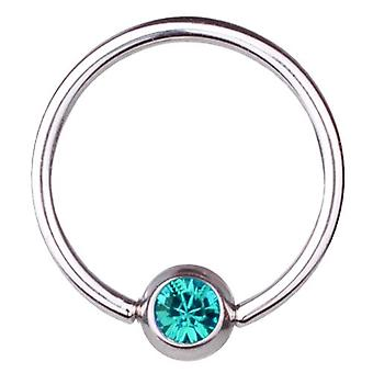 BCR Titan Piercing Ball Closure Ring 1,2 mm, SWAROVSKI Elemente Aqua | 6-12