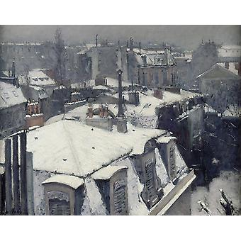 Gustave Caillebotte - Rooftops in the Snow Poster Print Giclee