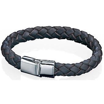 Rustfrit stål læder armbånd