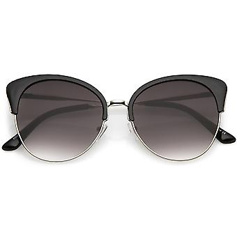 Oversize Half Frame Cat Eye Sunglasses With Round Neutral Color Flat Lens 58mm