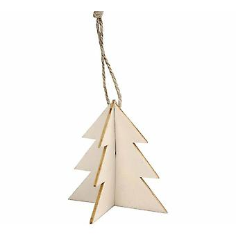 3 Interlocking Two Part Wooden Hanging Christmas Tree Decorations