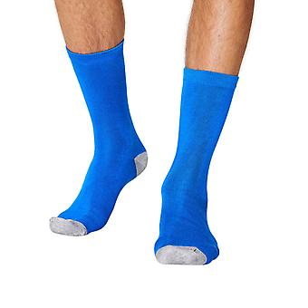 Solid Jack men's soft plain bamboo crew socks in blue | By Thought