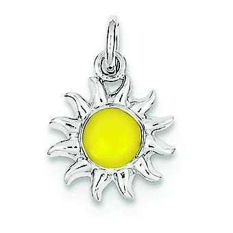 Sterling Silver Solid Enamel Polished Textured back Not engraveable Yellow Sun Charm - 1.1 Grams