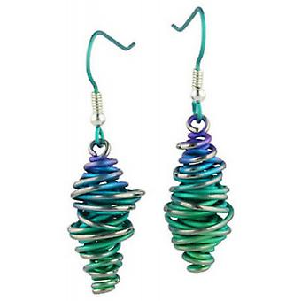 Ti2 Titanium Graduating Chaotic Drop Earrings - Green