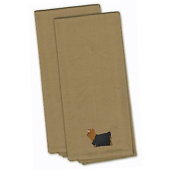 Yorkshire Terrier Yorkie Tan bordado juego de toalla de cocina de 2
