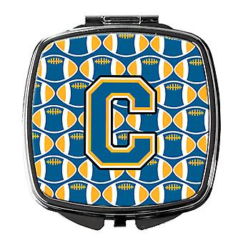 Carolines Treasures  CJ1077-CSCM Letter C Football Blue and Gold Compact Mirror