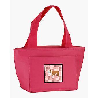 Carolines Treasures  BB3662PK-8808 English Bulldog Checkerboard Pink Lunch Bag