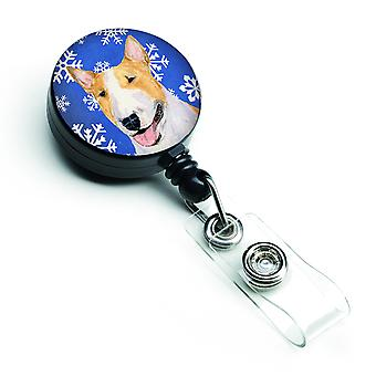 Bull Terrier Winter Snowflakes Holiday Retractable Badge Reel